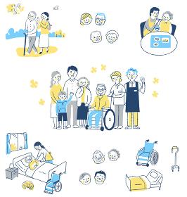 さまざまな介護イメージシーン セット