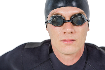 Close-up of confident swimmer in wetsuit