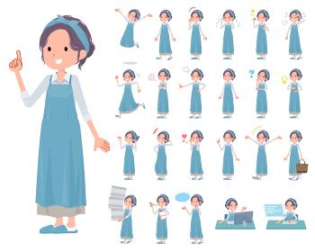 様々な感情表現をするお洒落なママ女性のセット