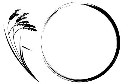 実った稲と丸フレームのイラスト、背景素材