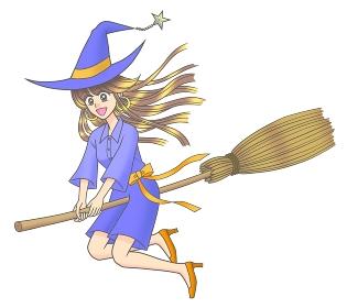 ほうきに乗って飛ぶロングヘアの若い魔女