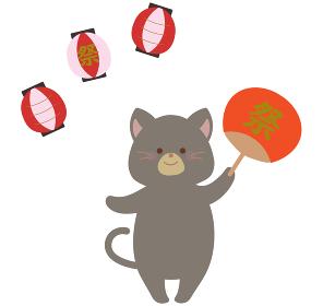 盆踊り お祭りのネコのイラスト