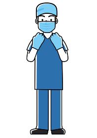 手術着オペ着手術衣男性医師のシンプル線画イラスト 全身 白衣ネクタイ観察