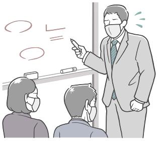 マスクで会議中、ホワイトボードの前で説明する、焦った中年男性