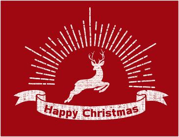 手描きタッチのハッピークリスマスのロゴマーク(1色白)|集中線と天使とトナカイのイラスト