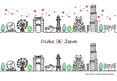 新型コロナウイルスと大阪の街並み線画イラスト