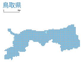 鳥取県の詳細地図中国地方 都道府県別ドット表現の地図のイラスト ベクターデータ