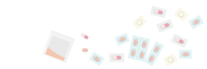 粉薬、錠剤など複数の薬 横長バナー