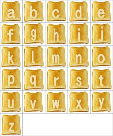 食パンに焼印風のアルファベットの小文字のセット