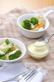 ドレッシングと温野菜