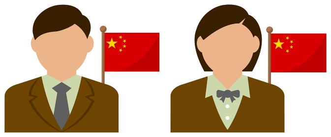 男性・女性ビジネスマン+国旗 イラスト (上半身・顔なしシルエット)/ 中国