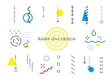 雨の形 幾何学模様の装飾、梅雨を楽しむ(ポップカラー、背景白)
