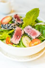Grilled tuna salad in white bowl - healthy food, Ia?i, IS, Romania