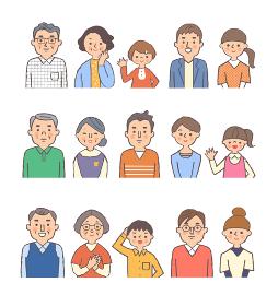 3世代家族上半身 3組 セット