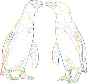 虹色のドローイング ペンギンのカップル