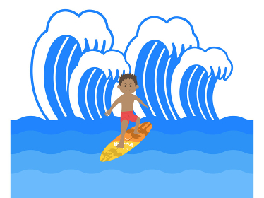 サーフィンをする男性のイラスト
