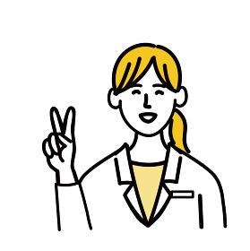 医師 医者 女性 ポップ 笑顔 ピース 医療