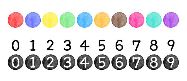 水彩タッチのカラフルな丸と、白黒の数字と番号イラスト素材