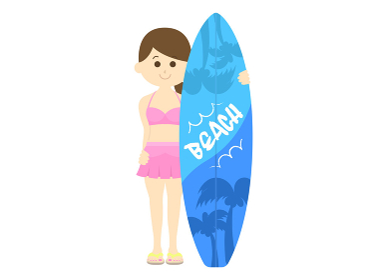 水着を着た女性サーファーのイラスト