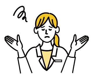 医師 医者 女性 ポップ 困っている 呆れている 医療 表情