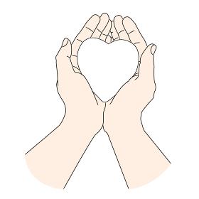 白いハートを持つ女性の手【ボディパーツ】