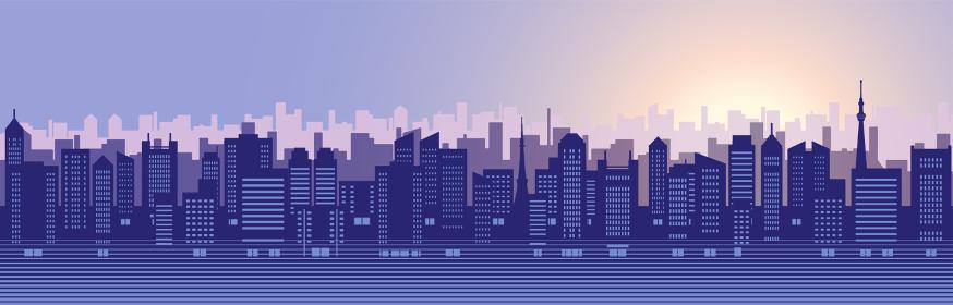 ビルのある都市風景のイラスト(夜明け)