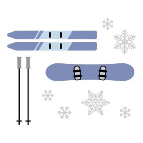 スキー・スノーボード板 イラストセット