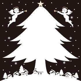 クリスマス ツリー 天使 シルエット イラスト 背景