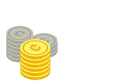 セント硬貨が積まれたイラスト、アイソメトリック