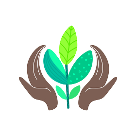 World environment day concept. Hands of african american holding abstract plant. Save nature. Eco friendly design
