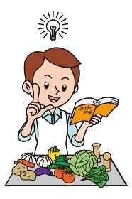 料理本を読む男性