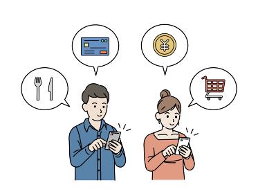 スマートフォンで決済する夫婦 男女 買い物 宅配 イラスト素材
