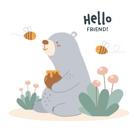 クマとミツバチのイラスト
