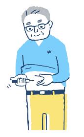 インスリンの自己注射をする男性
