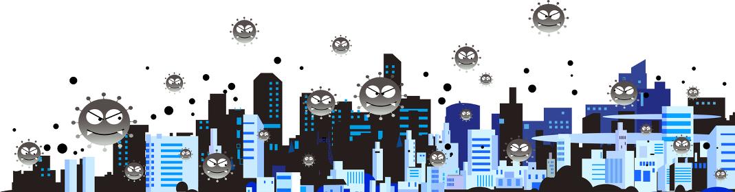 新型ウイルスに感染されたパンデミックの街