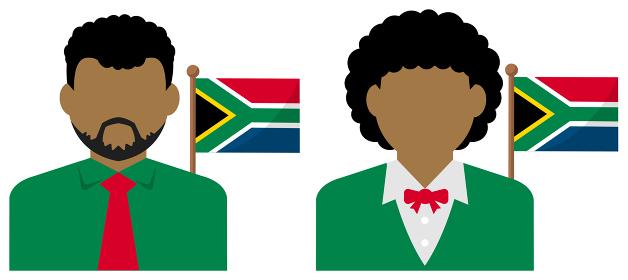 男性・女性ビジネスマン+国旗 イラスト (上半身・顔なしシルエット)/ 南アフリカ共和国