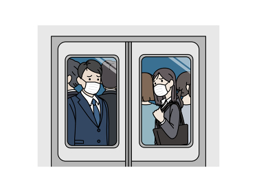 電車に乗るスーツ姿の男女 乗客 マスク着用 社会人 会社員 通勤 移動 帰宅 イラスト素材