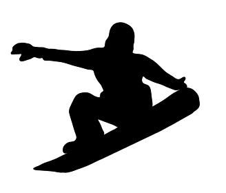 楽しいスノーボードのシルエット