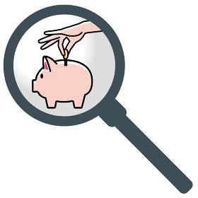 虫眼鏡拡大鏡かわいいブタ豚の貯金箱と貯金する手のイラスト|貯金・節約のイメージ|ベクターデータ