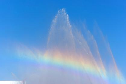 消防出初式の一斉放水の水しぶきに架かる虹