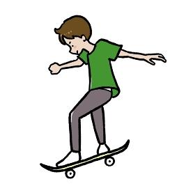 スケートボードをする少年のイラスト