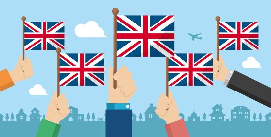 手持ち国旗 バナーイラスト ( 愛国心・イベント・お祝い ・デモ) / イギリス・英国