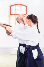 aikido teachers and students train throwing and dropping