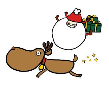 クリスマスに使えるサンタとトナカイ、プレゼントのシンプルでかわいいイラスト。コピースペース付き。