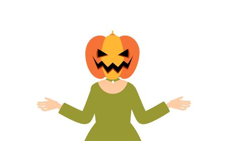 ハロウィンの仮装、カボチャのお化け姿の女の子が両腕を広げるポーズ