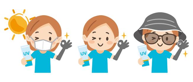 日焼け対策をした若い女性のイラストレーションのセット