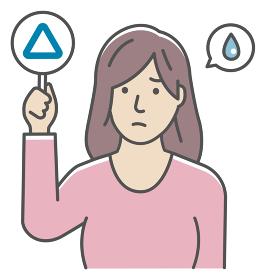 ○×プレートを手に持つ若い女性のイラスト(上半身) / サンカク・三角