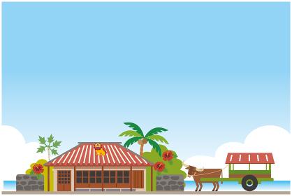 沖縄の古民家イラスト風景