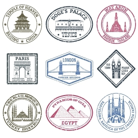 Monuments Stamps Set. Monuments and famous world landmarks stamps set isolated vector illustration