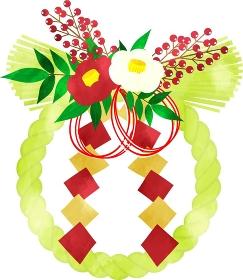 日本の正月飾り おしゃれなしめ縄 輪飾りの水彩風イラスト